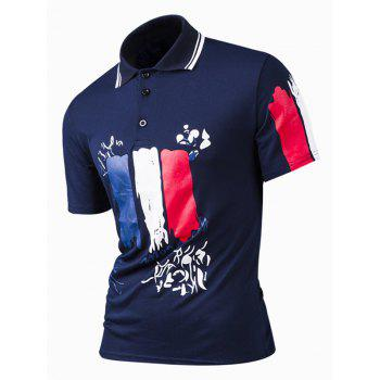 Color Block Print Turn-Down Collar Short Sleeve Polo Shirt For Men