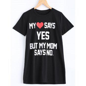 Chic Round Neck Letter Print Heart Pattern Women's T-Shirt