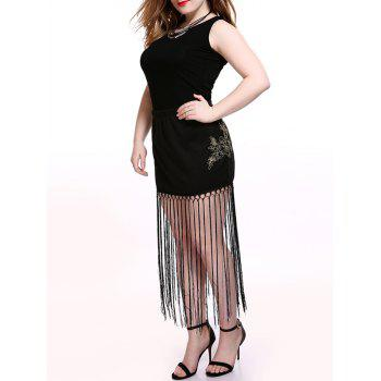 Plus Size Alluring Floral Pattern Fringed Skirt