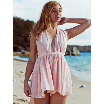 Pink Plunging Neck Open Back Chiffon Romper