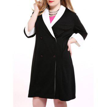 Plus Size Shawl Collar Double Breasted Coat