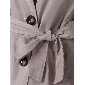 Plus Size Tie Belt Double Breasted Long Trench Coat - 5XL 5XL
