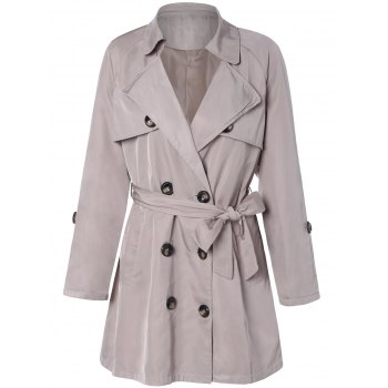 Plus Size Tie Belt Double Breasted Long Trench Coat - LIGHT KHAKI 3XL