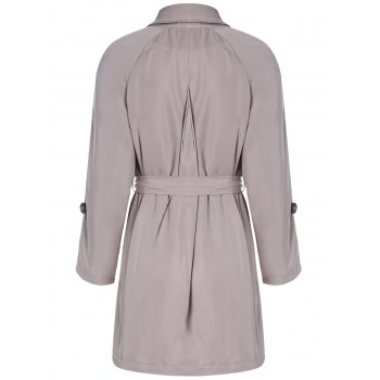 Plus Size Tie Belt Double Breasted Long Trench Coat - 3XL 3XL