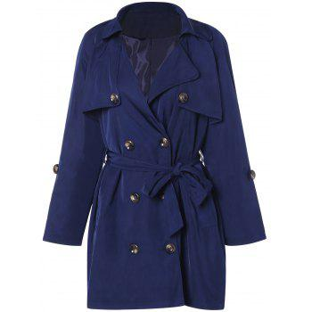 Plus Size Double Breasted Belted Trench Coat - DEEP BLUE 3XL