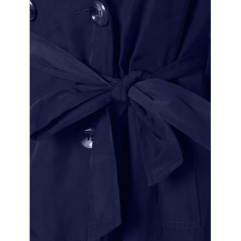 Plus Size Tie Belt Double Breasted Long Trench Coat - DEEP BLUE 2XL