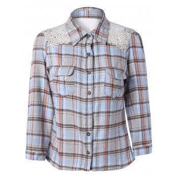 Lace Splicing Long Sleeve Pocket Design Plaid Shirt