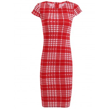 Bodycon Short Sleeve Round Neck Plaid Dress