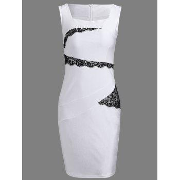 Bodycon Square Neck Sleeveless Lace Spliced Dress