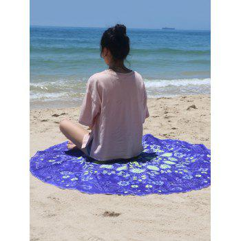 Plant Print Sun-Resistant Beach Cover Up - BLUE ONE SIZE