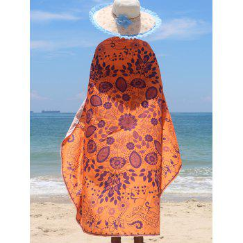 Tribal Floral Print Chiffon Beach Cape