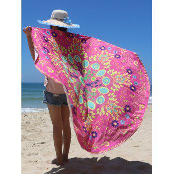 Circle Floral Pattern Beach Chiffon Cover Up - ROSE RED ONE SIZE
