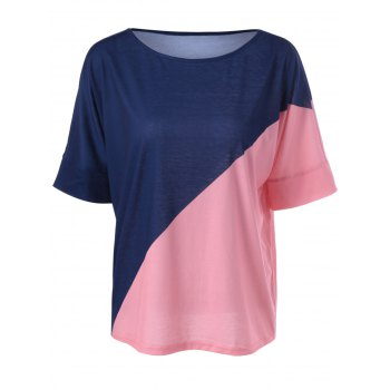 Casual Knitting Color Block Top For Women - BLUE AND PINK M