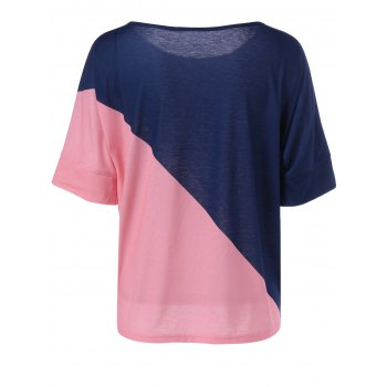Casual Knitting Color Block Top For Women - BLUE/PINK M
