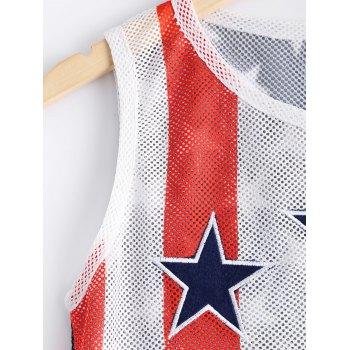 Fashionable Woman's Round Collar Elasticated Net Star Stripe Printing Tank Top - BLACK/WHITE/RED XL