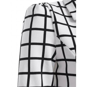 Double-Breasted Plaid Lapel Collar Sheath Dress - CHECKED XL
