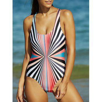 Rainbow Stripe Hollow Out Backless One-Piece Swimsuit