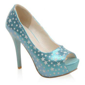 Trendy Platform and Star Pattern Design Women's Peep Toe Shoes - WATER BLUE 39