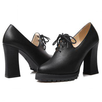 Fashionable Chunky Heel and Tie Up Design Women's Pumps - BLACK 37
