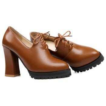 Fashionable Chunky Heel and Tie Up Design Women's Pumps - BROWN 37