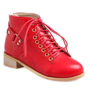 Buy Trendy Tie Zipper Design Women's Ankle Boots RED