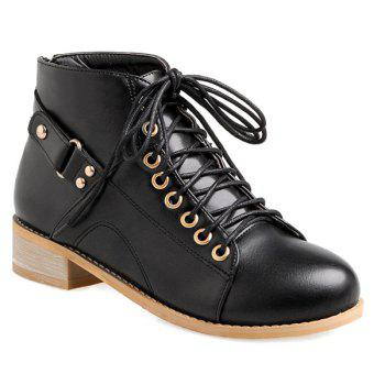 Buy Trendy Tie Zipper Design Women's Ankle Boots BLACK