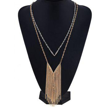 Layered V Shape Chain Fringed Necklace