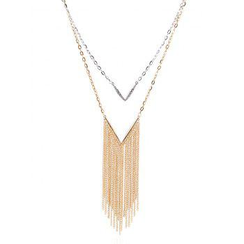 Layered V Shape Chain Fringed Necklace - COLORMIX