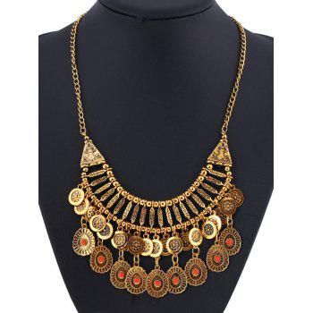 Coin Fringed Embossed Statement Necklace