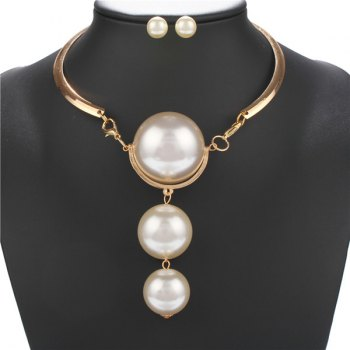 A Suit of Faux Pearls Necklace and Earrings
