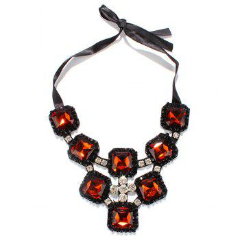Hollow Out Rhinestone Square Shape Statement Necklace - DEEP RED
