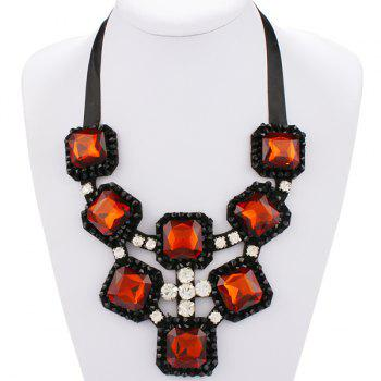 Hollow Out Rhinestone Square Shape Statement Necklace