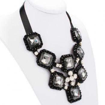 Square Shape Rhinestone Ribbon Statement Necklace - BLACK