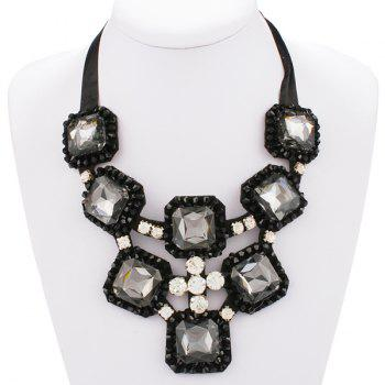 Square Shape Rhinestone Ribbon Statement Necklace