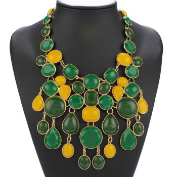 Geometric Faux Stone Statement Necklace