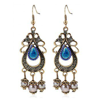 Pair of Faux Pearl Gem Chandelier Earrings