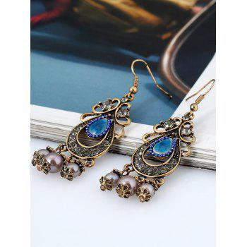 Pair of Faux Pearl Gem Chandelier Earrings - COPPER COLOR
