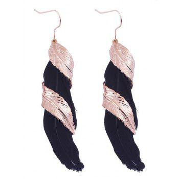 Pair of Alloy Feather Earrings - BLACK BLACK
