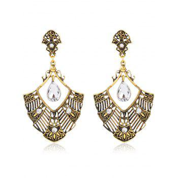 Pair of Statement Rhinestone Hollowed Earrings - GOLDEN GOLDEN