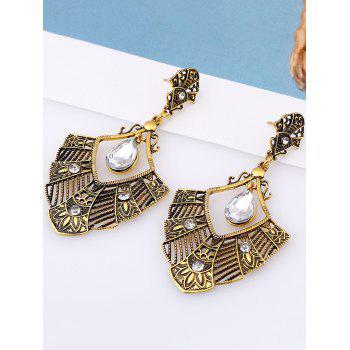 Pair of Statement Rhinestone Hollowed Earrings - GOLDEN
