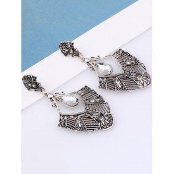 Pair of Statement Rhinestone Hollowed Earrings -  SILVER