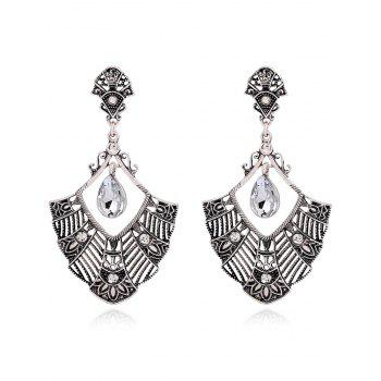 Pair of Statement Rhinestone Hollowed Earrings - SILVER SILVER