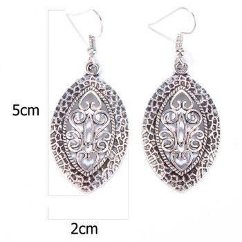 Pair of Hollowed Leaf Drop Earrings - SILVER