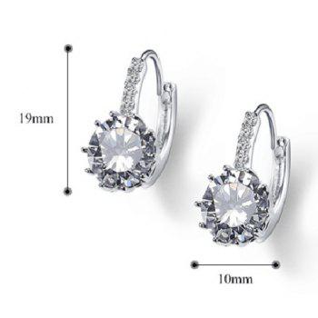 Pair of Alloy Rhinestoned Hoop Earrings -  SILVER