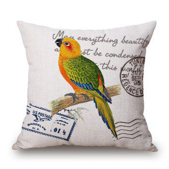 Buy Vintage Parrot English Quote Stamp Design Sofa Pillow Case YELLOW/GREEN