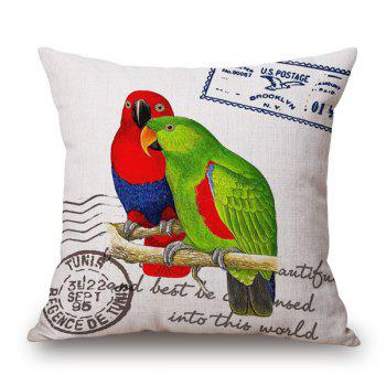 Retro Pair Parrot and English Quote Stamp Design Sofa Pillow Case - RED AND GREEN RED/GREEN