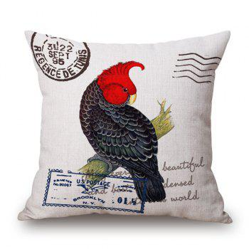 Fashional Engliah Proverb Postmark Letter and Parrot Design Sofa Pillow Case