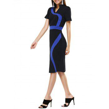Stand Collar Color Block Midi  Dress
