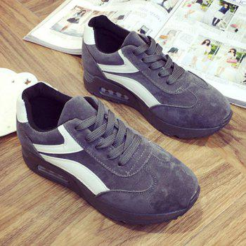 Round Toe Suede Color Block Sneakers - GRAY 39
