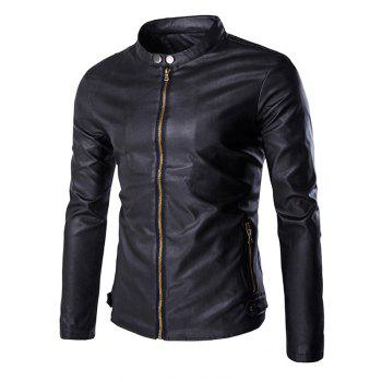 Multi-Zipper Stand Collar Long Sleeves Men's PU Leather Jacket
